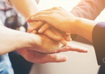 Partnership hands square website